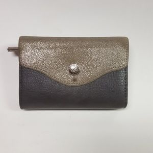 Handbags - Grey Leather Wallet with Shiny Material on Flap
